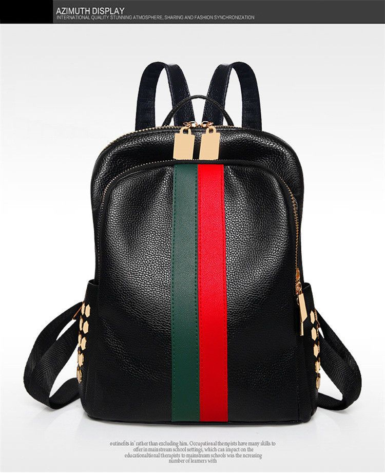 1ea408956 Women Leather Mini Backpack Bag Teenager School Tote Gucci Stripes Style  Travel #Unbranded