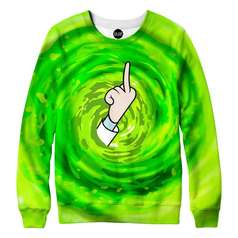 21b8e40d1cc Rick and Morty Middle Finger Sweatshirt