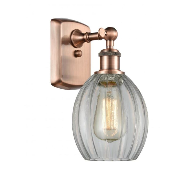Photo of Innovations Lighting 516-1W Eaton Eaton 12″ Tall Bathroom Sconce Antique Copper / Clear Indoor Lighting Bathroom Fixtures Bathroom Sconce