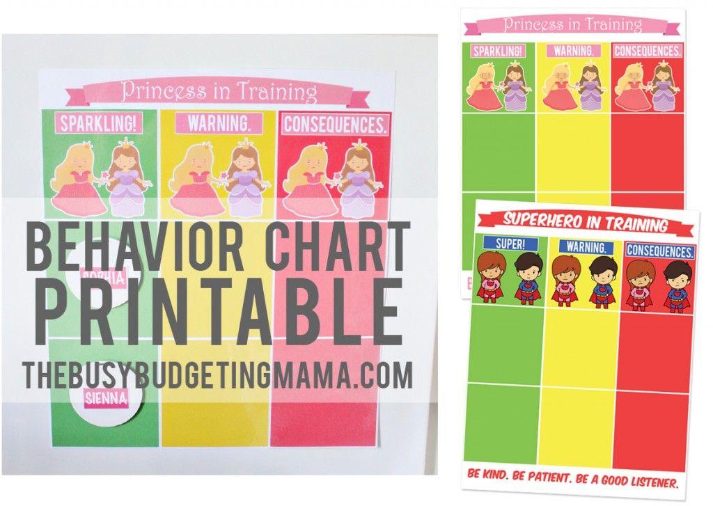 Behavior ChartThebusybudgetingmama  Print It