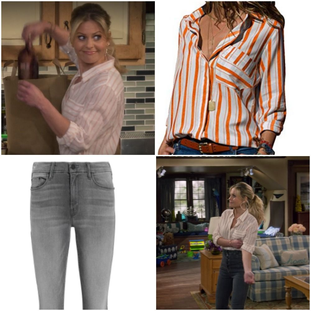 85a42f83e34b DJ Tanner (Candace Cameron) wears this orange striped shirt and gray jeans  on 'Fuller House' season 2. Get more details on her look by clicking the  photo.
