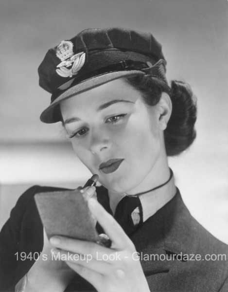 8d9aa1d0830 W.A.A.F-Girl-Womens-Auxiliary-Air-Force -applies-Gala-of-London-Lipstick-1941-Image-from-VADS.