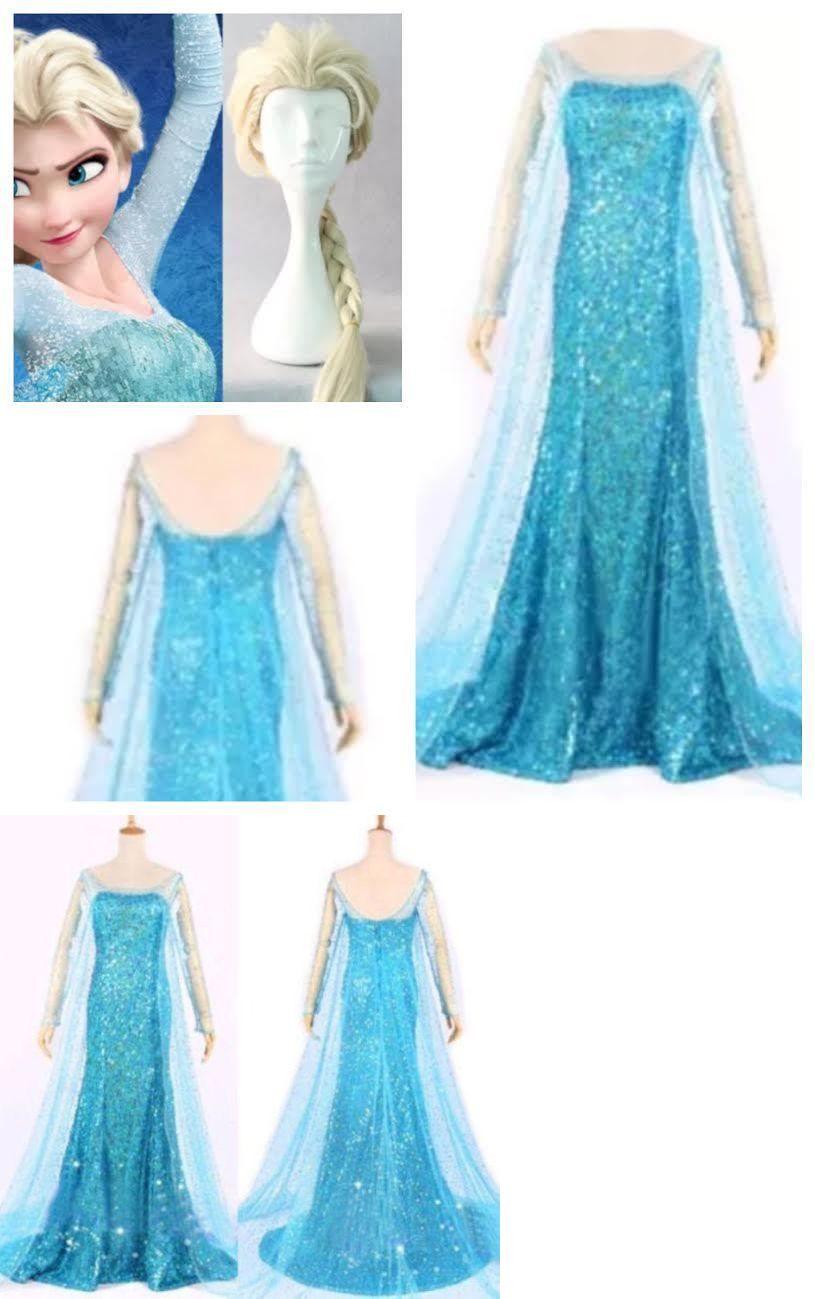 Frozen Elsa Party Fancy Dress  blue costume fancy dress Cosplay girls ADD a WIG