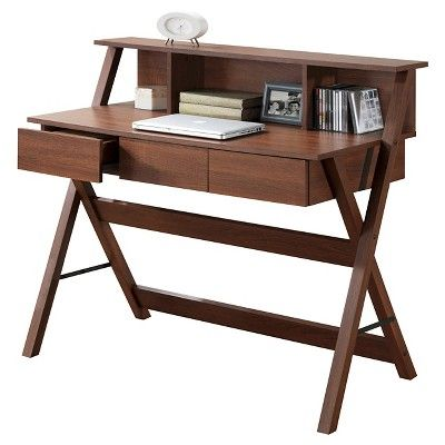 Folio Three Drawer Desk With Low Profile Hutch Warm Oak Brown Corliving