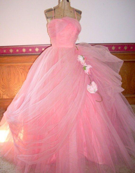 50\'s Coral Designer Ball Gown WILL STEINMAN Vintage 1950\'s Debutante ...