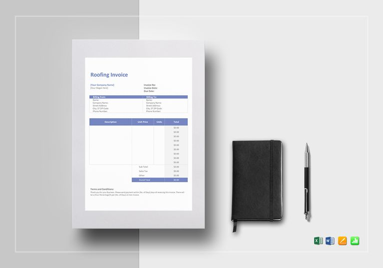 Roofing Invoice Template $12 Formats Included  MS Excel, MS Word - word invoice