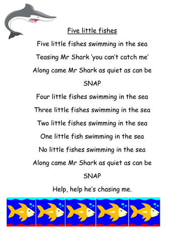 Five little daycare learning sea ocean pre school for Swimming swimming in the swimming pool song lyrics
