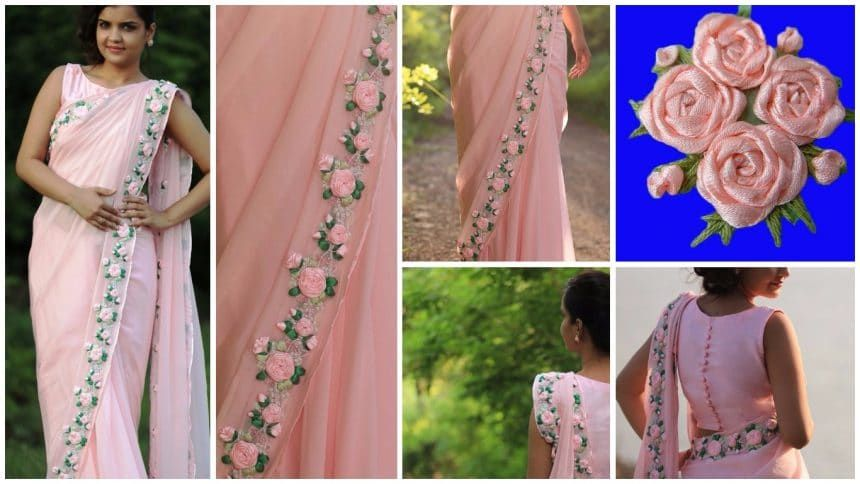 Satin Ribbon (Work) Rose Flower Making On Saree  Hand Embroidery