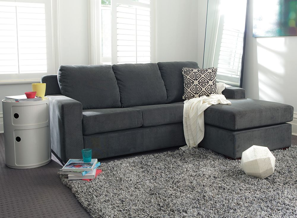 Archer 3 Seater Sofabed With Reversible Chaise Featuring Mirage Fabric In Onyx