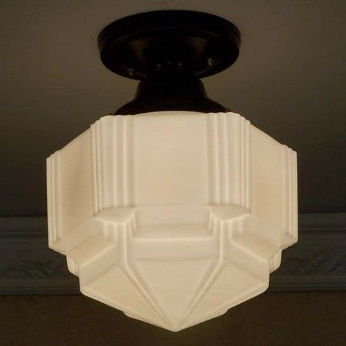 Dynamic art deco ceiling lamp light glass shade for Art deco porch light