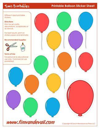 printable balloon stickers balloon templates crafts pinterest