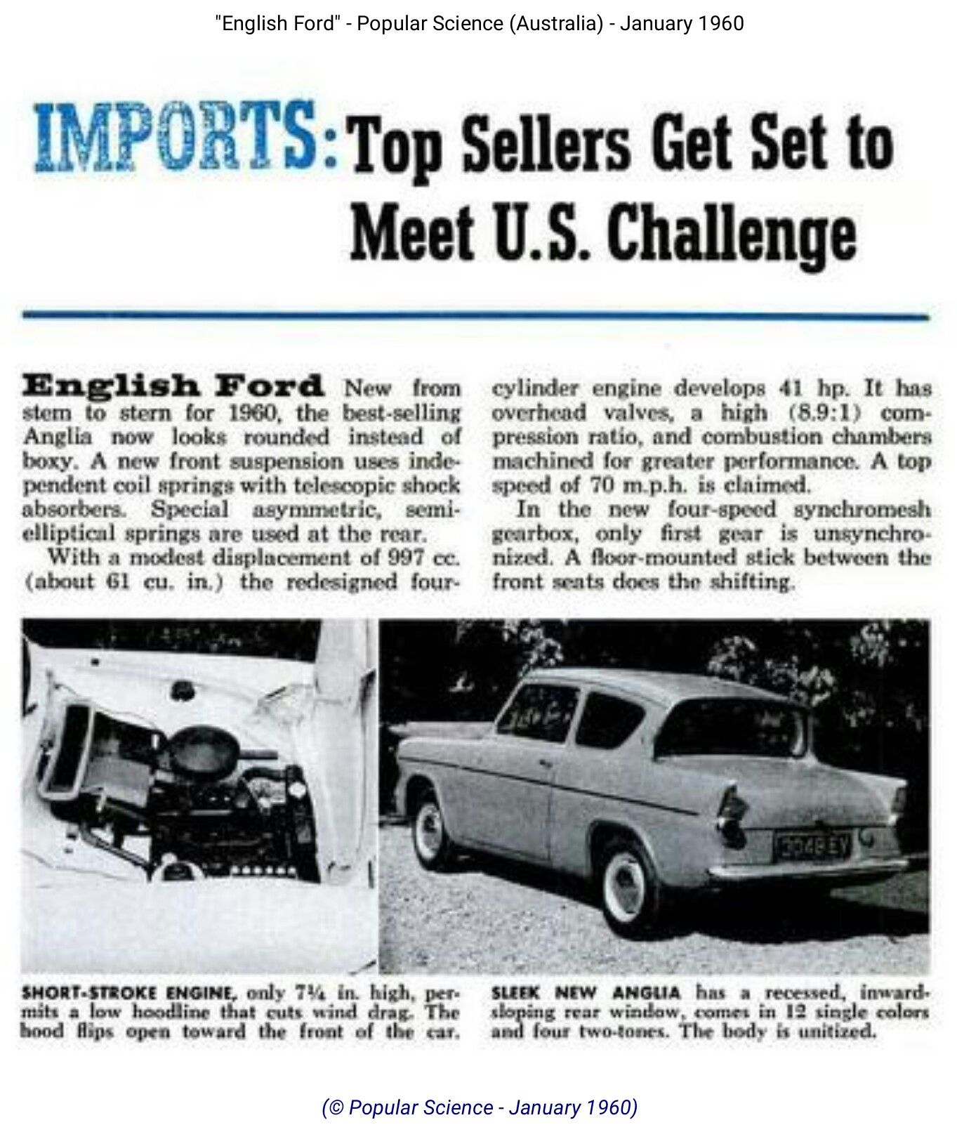 1960 Ford Anglia Popular Science Australia Popular Science