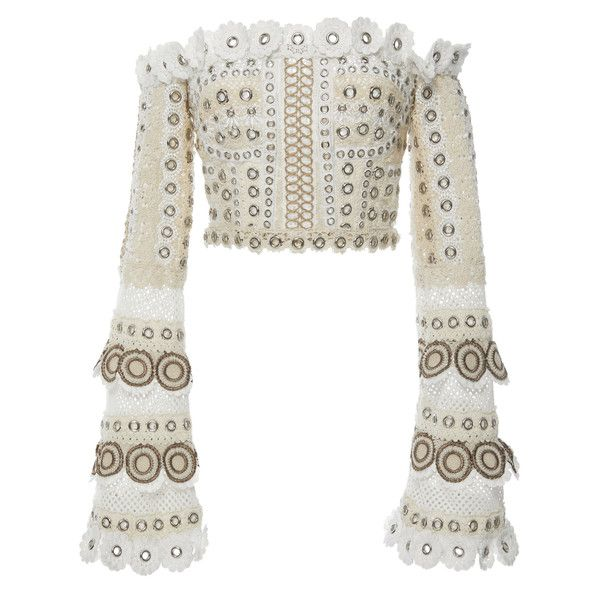 Jonathan Simkhai Gladiator Embellished Bustier Top ($995) ❤ liked on Polyvore featuring tops, bustier tops, white off shoulder top, off the shoulder bell sleeve top, off the shoulder tops and bustier crop tops