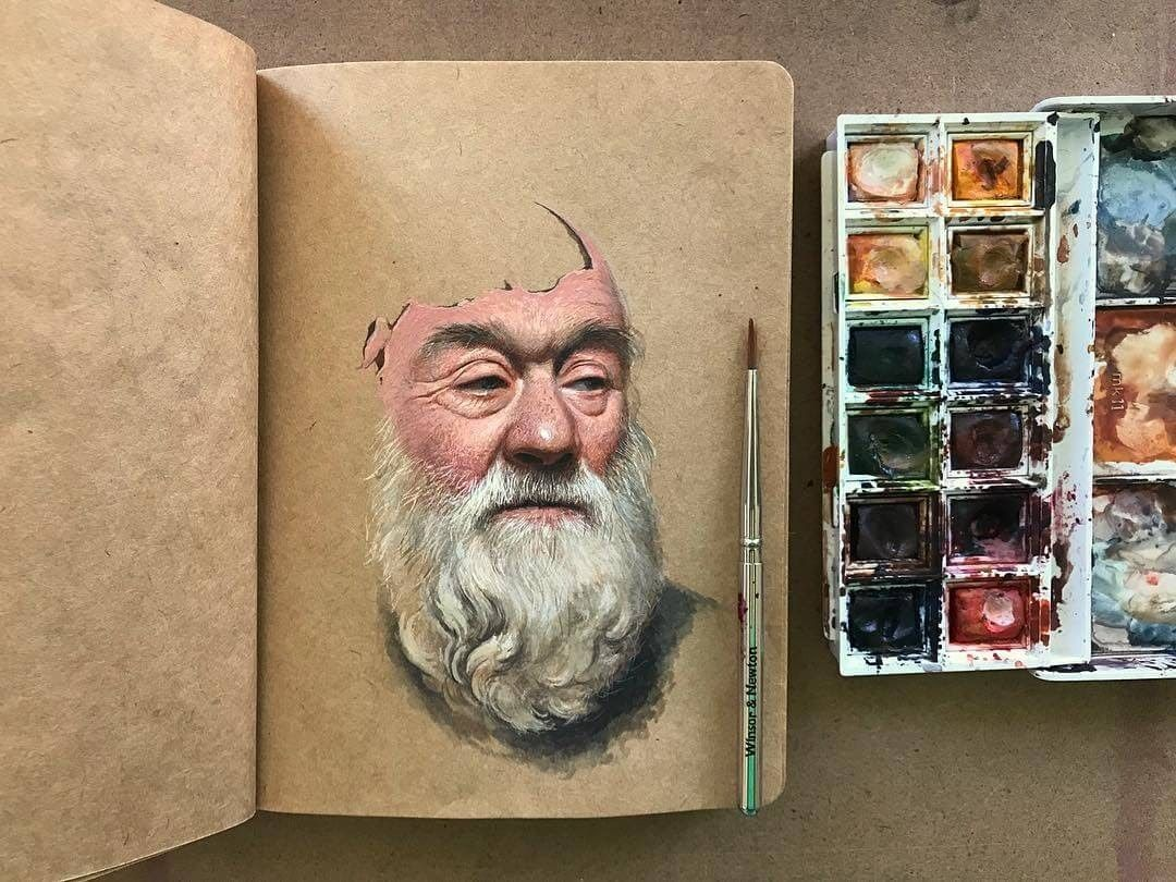 Gouache Acrylic And Watercolour Paintings On A Sketchbook En 2020