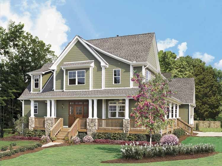 oakhampton craftsman home front of home from houseplansandmore