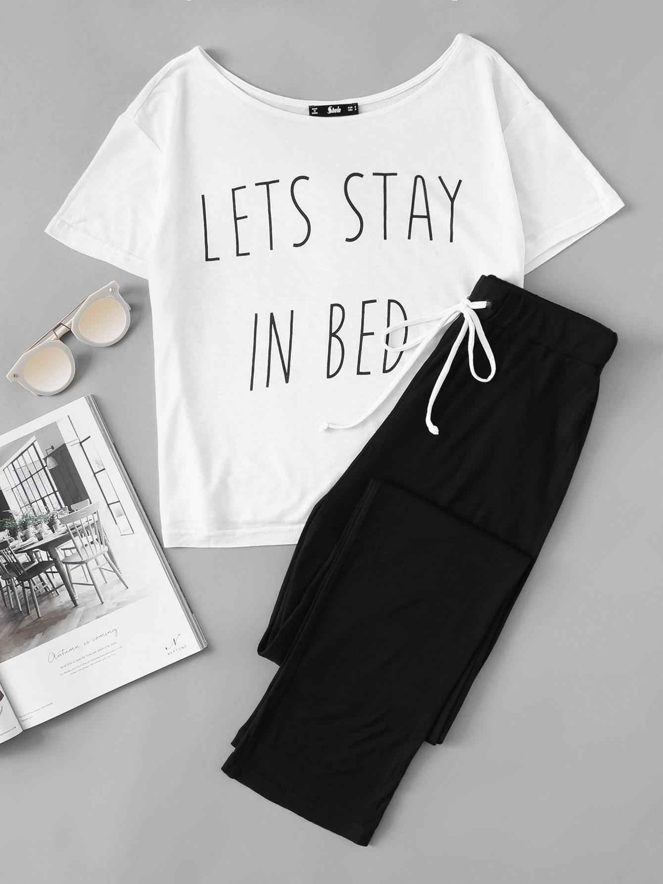 b22f6f24da  MakeMeChic -  MAKEMECHIC Slogan Print Tee And Sweatpants Pajama Set -  AdoreWe.com