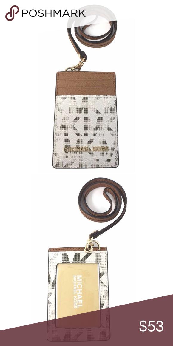 564638525bc2 Michael Kors Jet Set Travel Vanilla ID Card Case Michael Kors Jet Set  Travel Lanyard ID