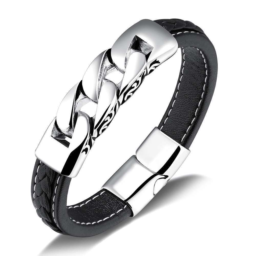 Fashion stainless steel bracelet genuine leather bracelets jewelry