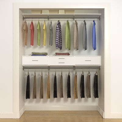 Double Or Triple Storage Space Simply By Adding An Additional Closet Rod And Drawers In Between Design Your O Closet Design Tool Closet Makeover Clever Closet