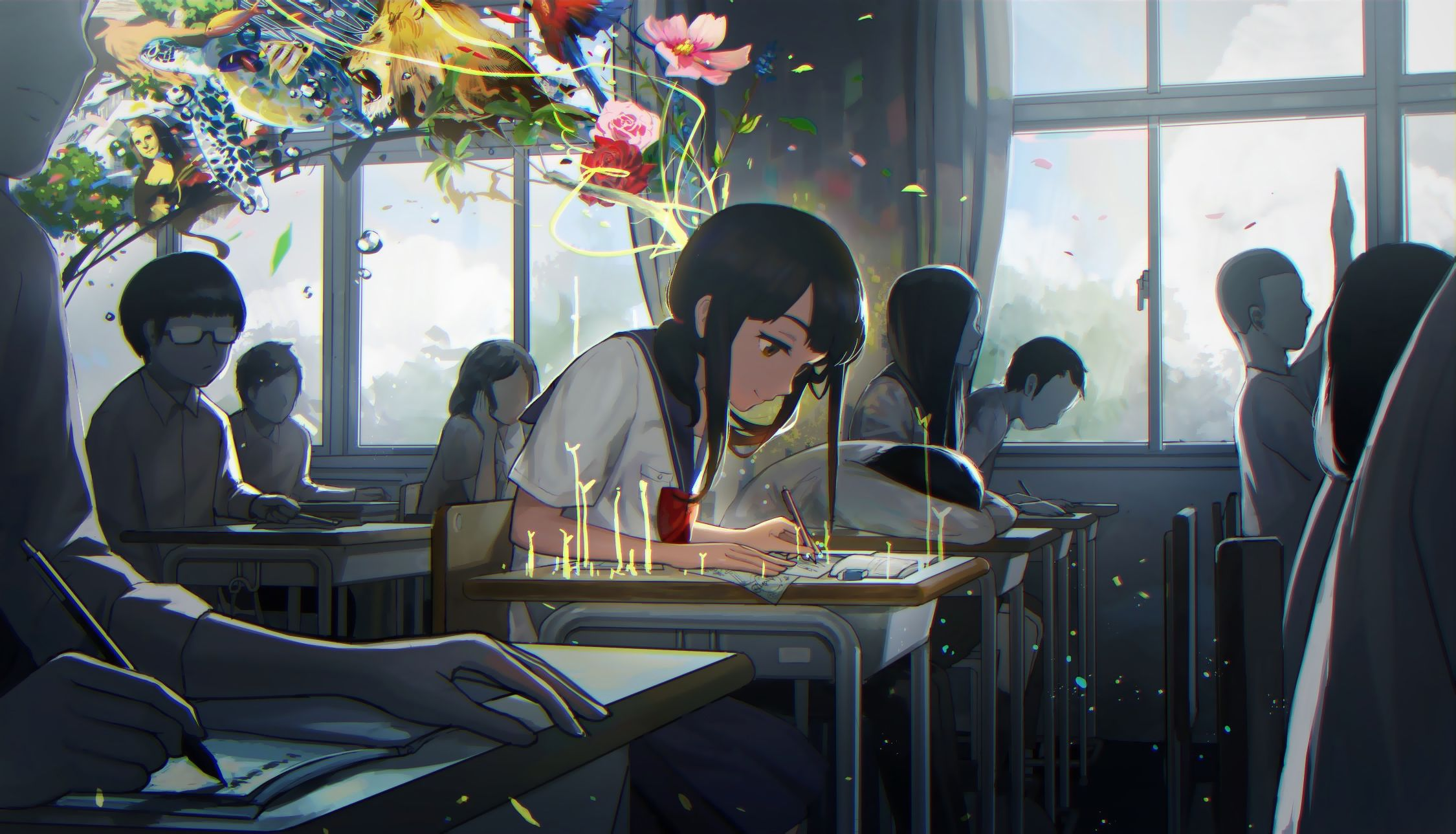 Konachan.com - 201455 animal black_hair flowers jpeg_artifacts original rose seifuku tsukun112.jpg (2250×1289)