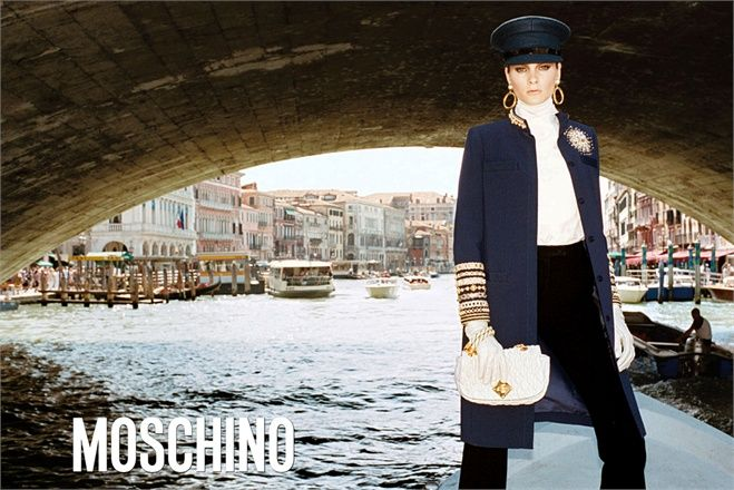 Moschino features their 2011-2012 Fall Winter Campaign. The photoshoot was lensed by Juergen Teller at the Grand Canal in Venice, Italy. Irina Kulikova is their muse. It's a classy nautical presentation from Italian fashion house Moschino.