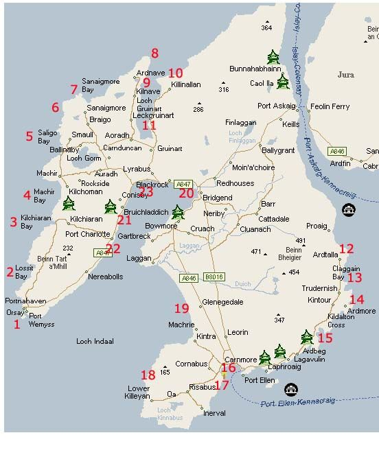 Islay Scotland Map.Map Of Beaches On Islay Scotland Isle Of Islay Scotland