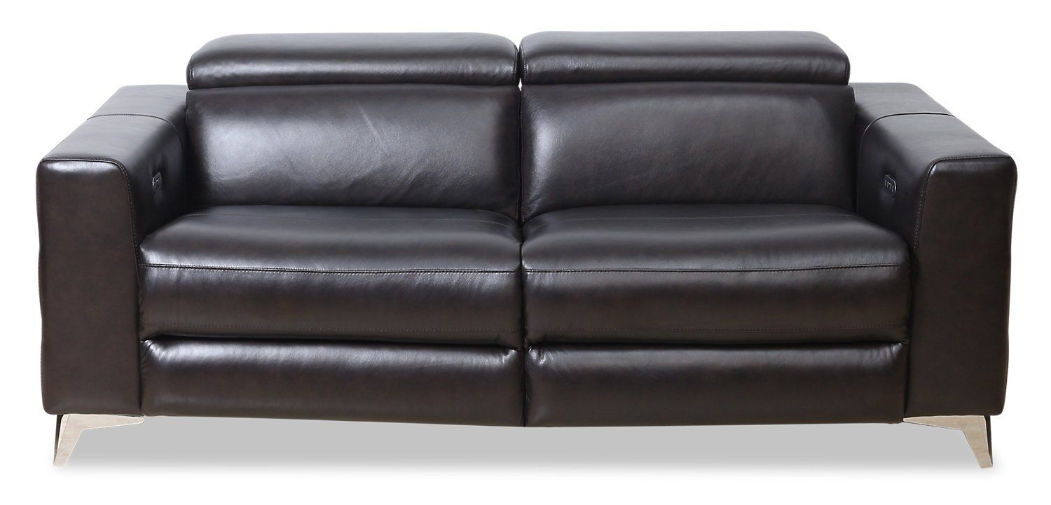 Kiano Genuine Leather Power Reclining Sofa With Adjustable Headrest The Brick With Images Power Reclining Sofa Power Recliners Reclining Sofa