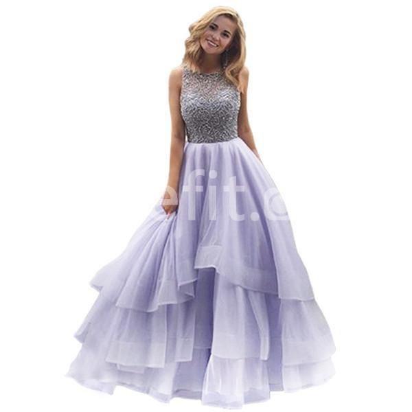 Long Elegant Ball Gown Straps Sleeveless Beading Prom Dresses 2018 ...