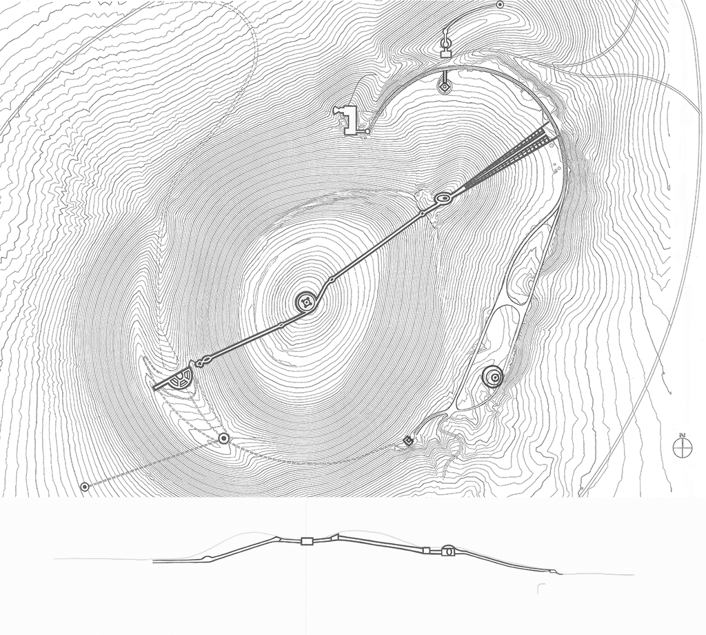 Minimalistische Kunst Site Plan Roden Crater Hover Over Drawing For More