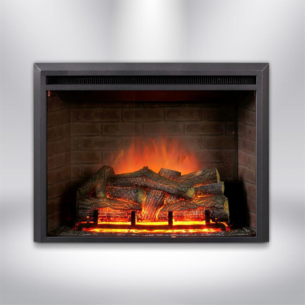 Dynasty Fireplaces 32 In Led Electric Fireplace Insert In Black Matt Black Matt Finish Fireplace Inserts Electric Fireplace Insert Fireplace