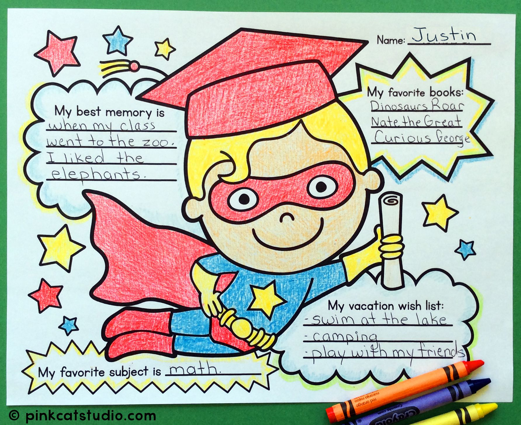 End of Year Activities Superhero Graduate Write and Color