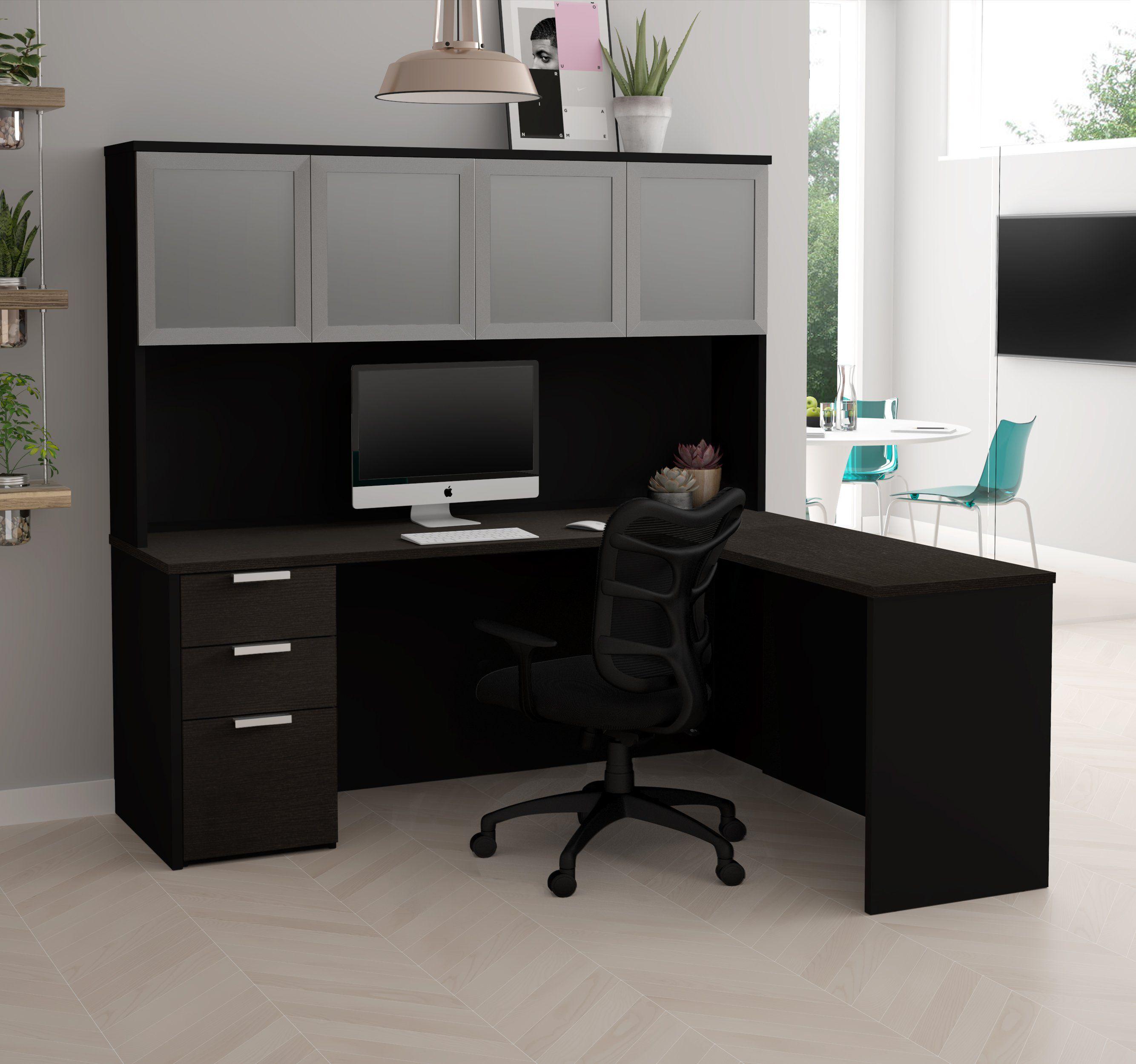 Marvelous Modern L Shaped Desk U0026 Hutch In Deep Gray U0026 Black Finish