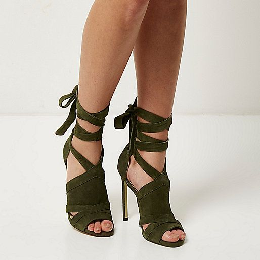 Khaki suede tie up shoe boots - ankle boots - shoes / boots - women