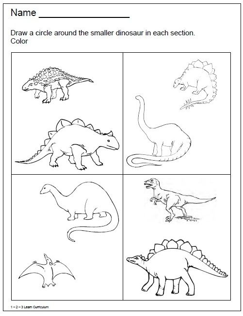 1 - 2 - 3 Learn Curriculum: Dinosaur Worksheets :) Dinosaur Worksheets,  Dinosaur Activities Preschool, Dinosaurs Preschool
