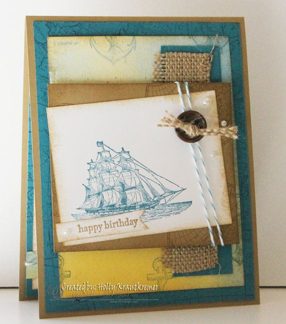 Greeting card birthday handmade nautical ship anchor sea ocean items similar to greeting card birthday handmade nautical ship anchor sea ocean happy birthday hand stamped made in brown blue yellow white masculine on bookmarktalkfo Gallery