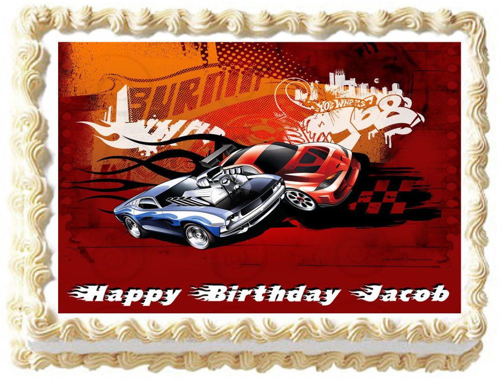 Hot Wheels Edible Image Cake Topper Decoration Kopykakesheets