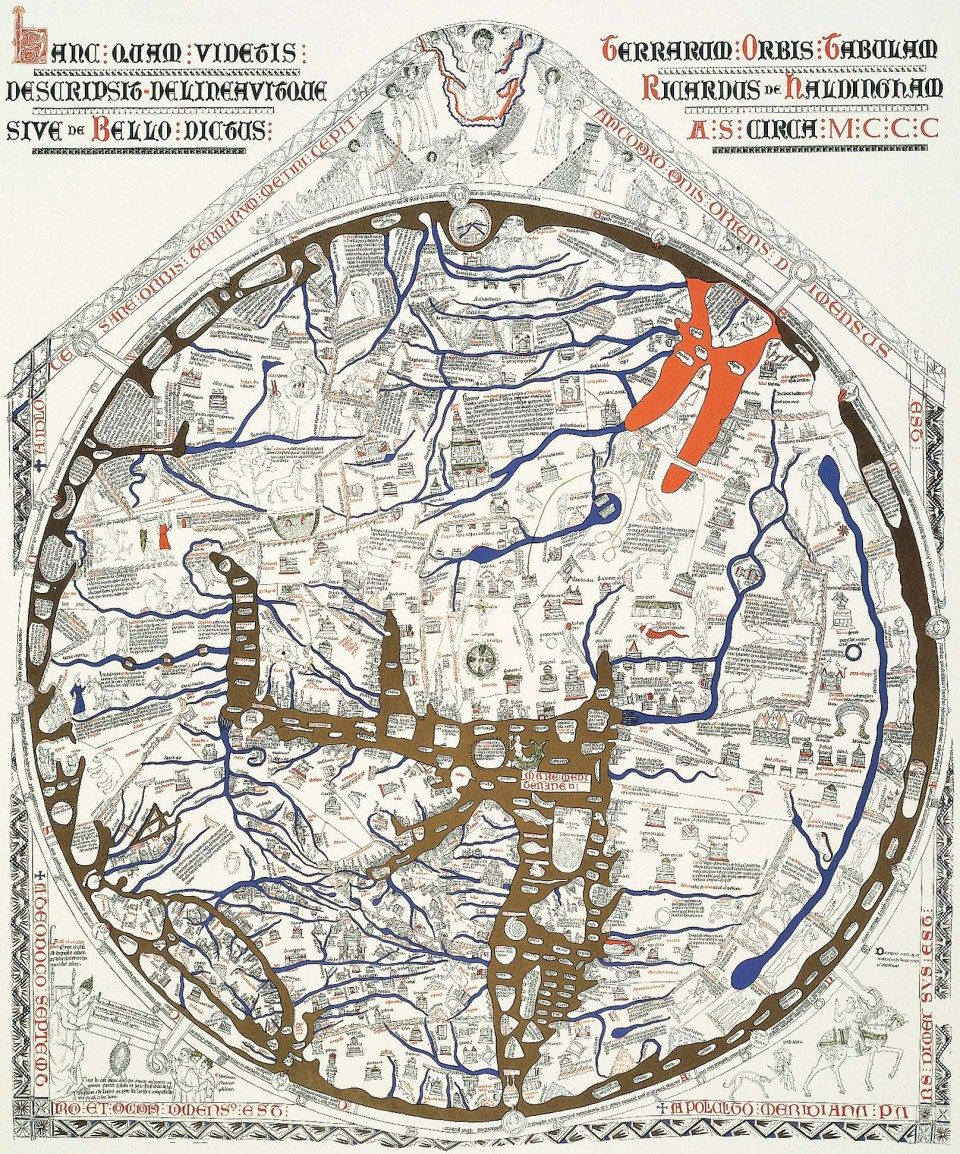 Herdford mappa mundi c 1285 redrawn for clarity north is on the hereford mappa mundi facsimile from 1869 editor rev hauergal m gumiabroncs Image collections
