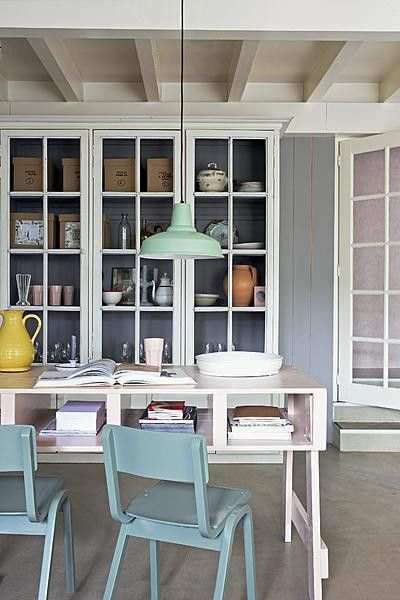 dining room, pastel colours