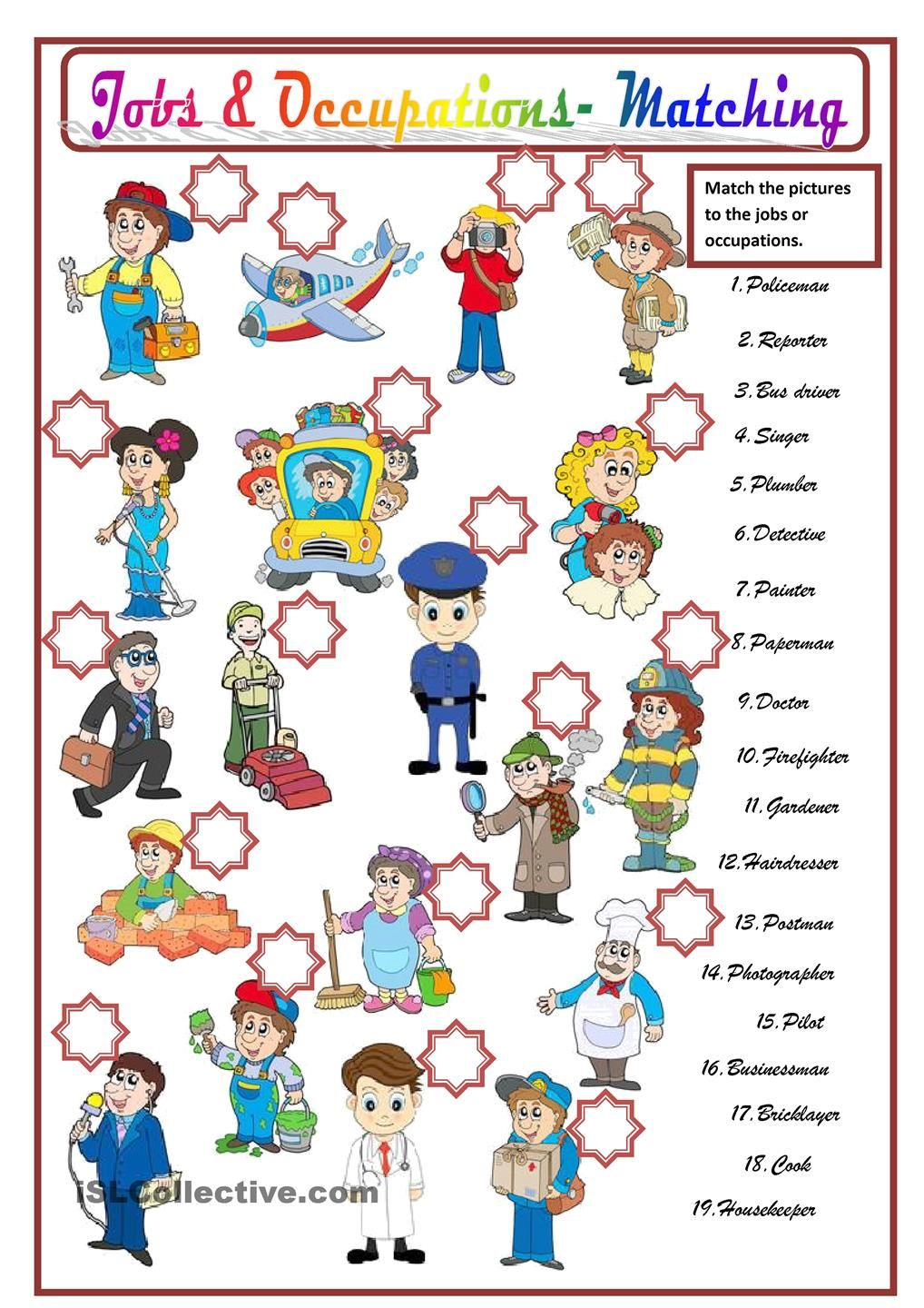 Jobs Occupations Kindergarten Worksheets Learn Portuguese Portuguese Lessons