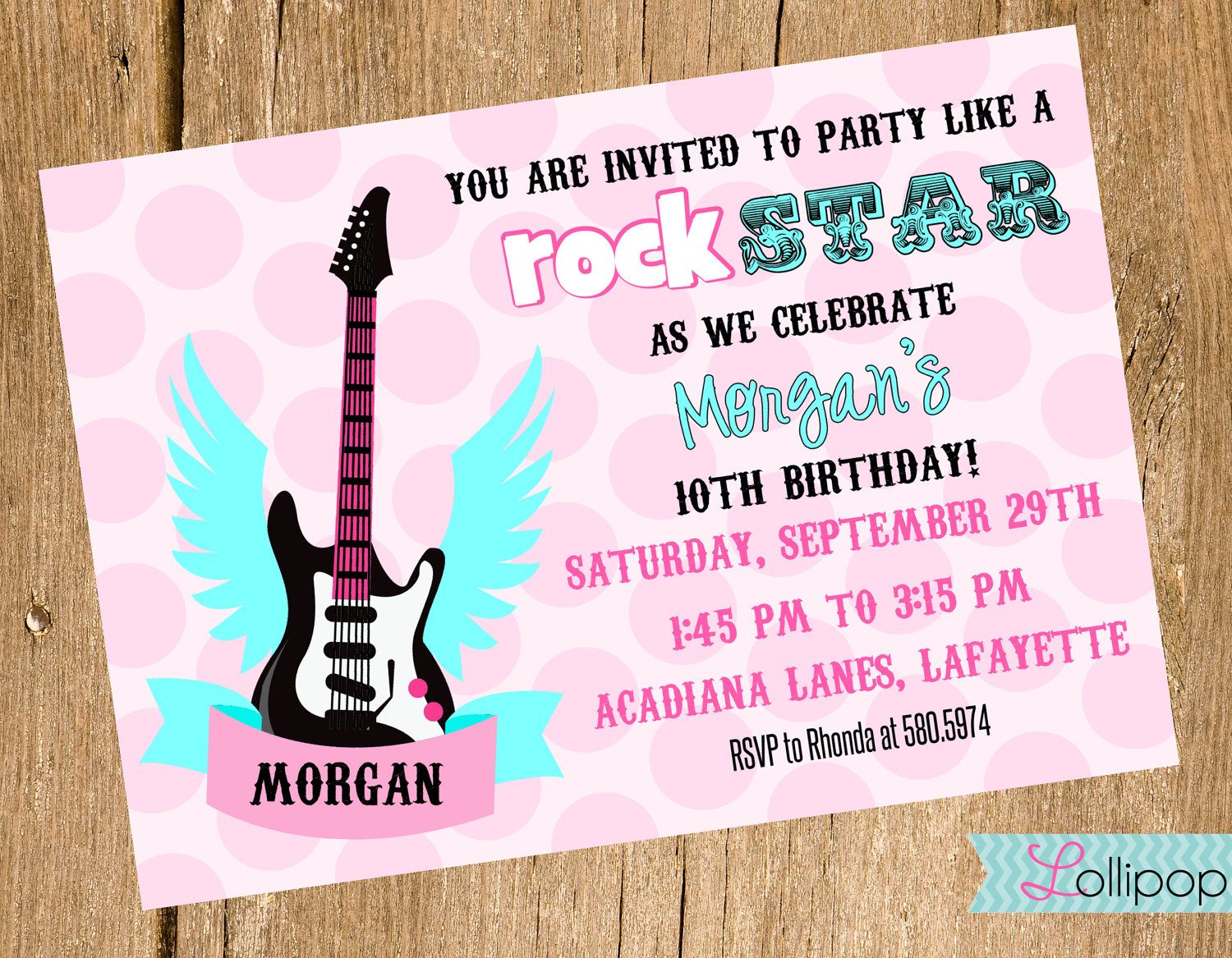 Rock N Roll Poster Style Birthday Invitation - With or Without Photo ...