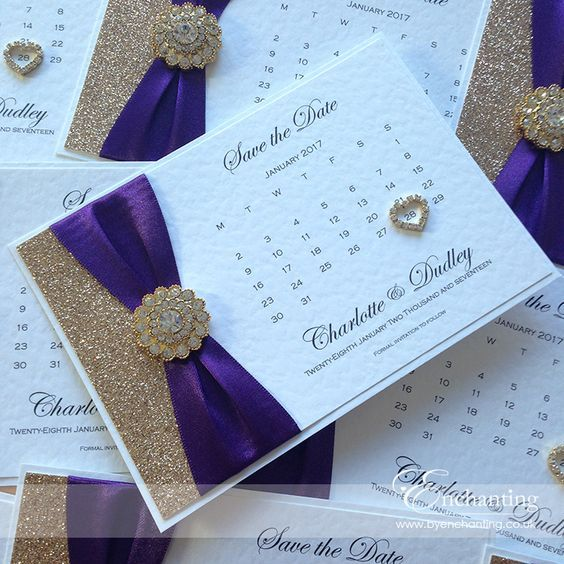 Purple Ribbon And Champagne Gold Glitter With Embellishment Vienna Luxury Handmade Wedding Invitations Stationery Byenchanting