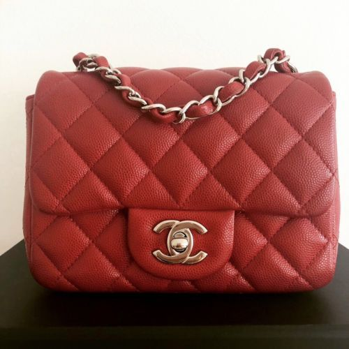 2aa247c014af Details about Chanel Square Classic Single Flap Bag Quilted Caviar ...