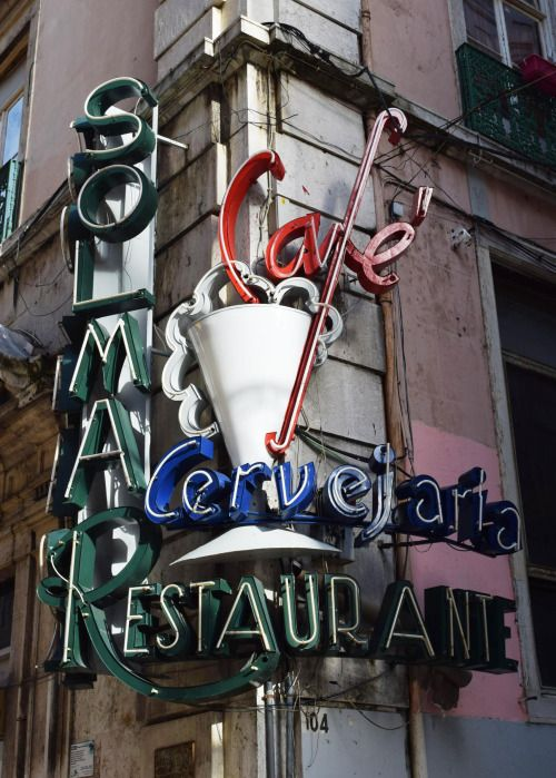 Neon sign, Lisbon, Portugal | neon bright signs | Neon signs