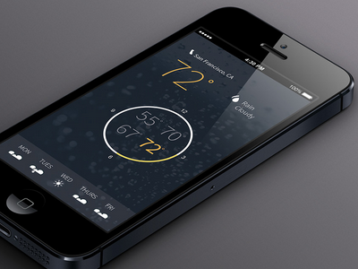 iPhone Weather App 3D Mockup