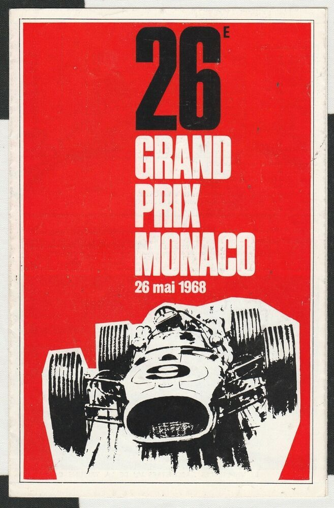 1968 MONACO MONTE CARLO GP RACE TRACK MAP FLYER HAND BILL ...