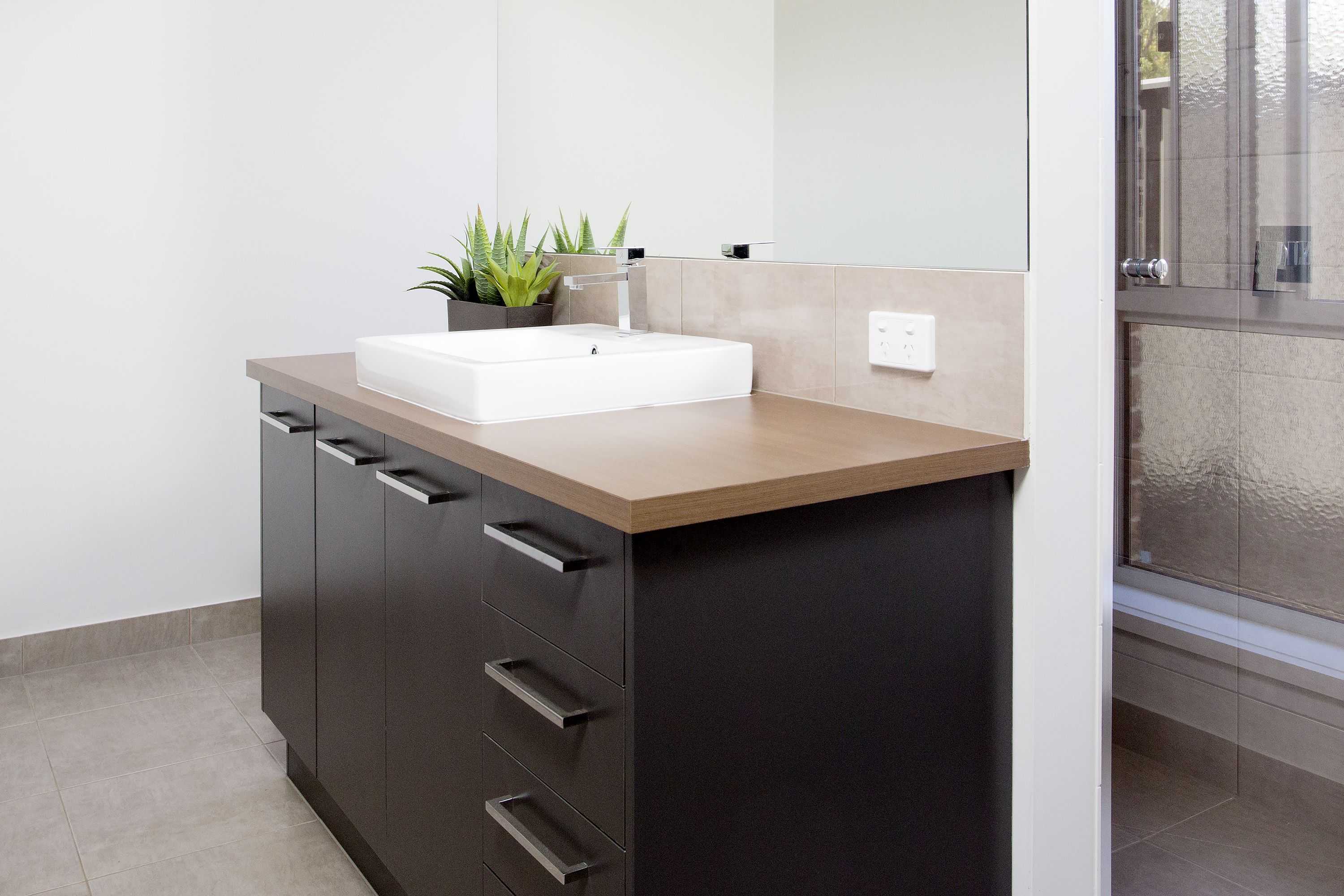 Bathroom Joinery ensuite vanity benchtop - cocoa spruce (matt finish)polytec