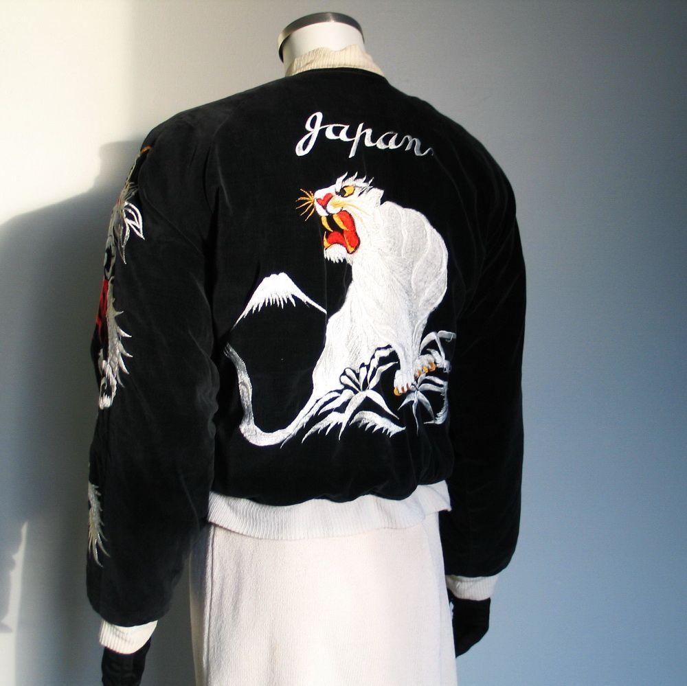 1950s velveteen satin Japan souvenir jacket with eagles, snow ...