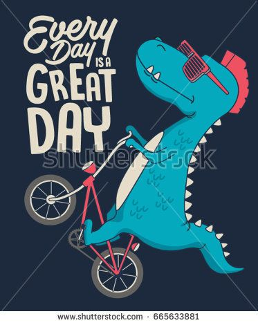 Cute Dinosaur On Bicycle Vector T Shirt Graphic Design For Kids