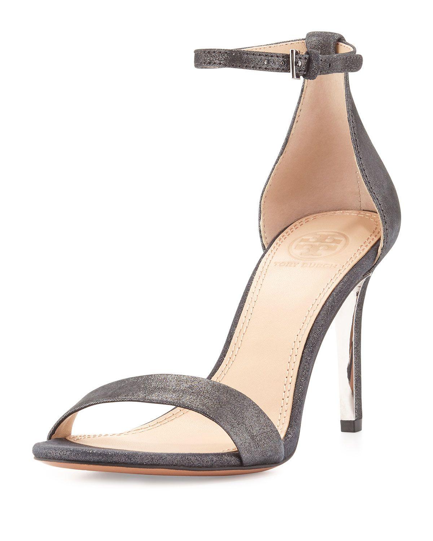 f9f6ec25d98 Tory Burch Classic Ankle-Strap Glitter Suede Sandal, Anthracite ...