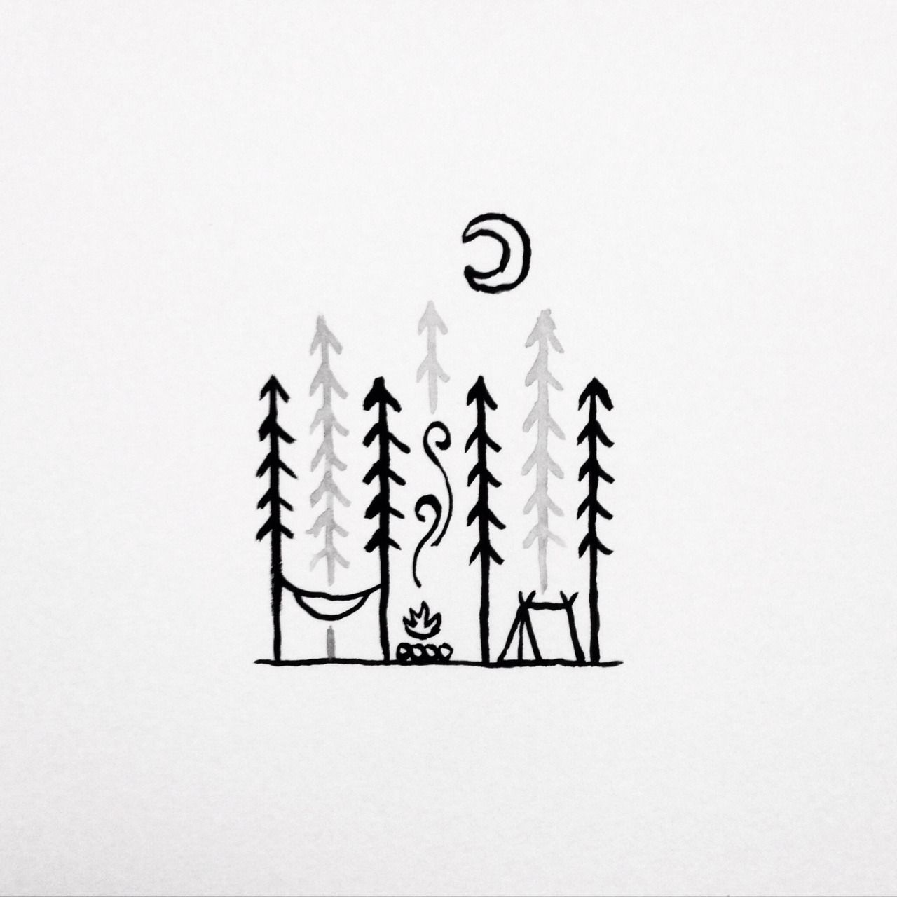 David Rollyn Photo Camping Drawing Camping Tattoo Mini Drawings